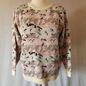 VINTAGE 80s Oversized Abstract Pastel Sweater L